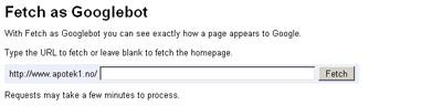 Utsnitt av gresnesnitt for å sjekke en side som Googlebot